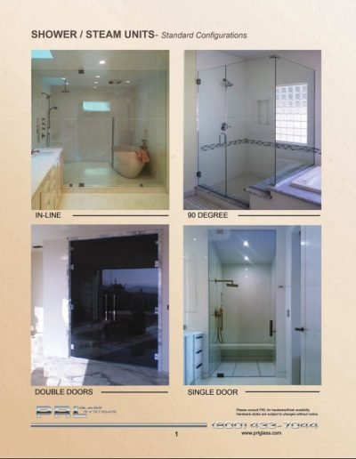 Shower/Steam Units - Standard Configurations