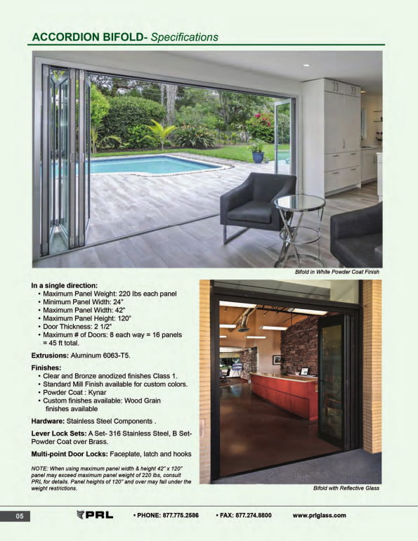 Accordion Bifold Door Specifications