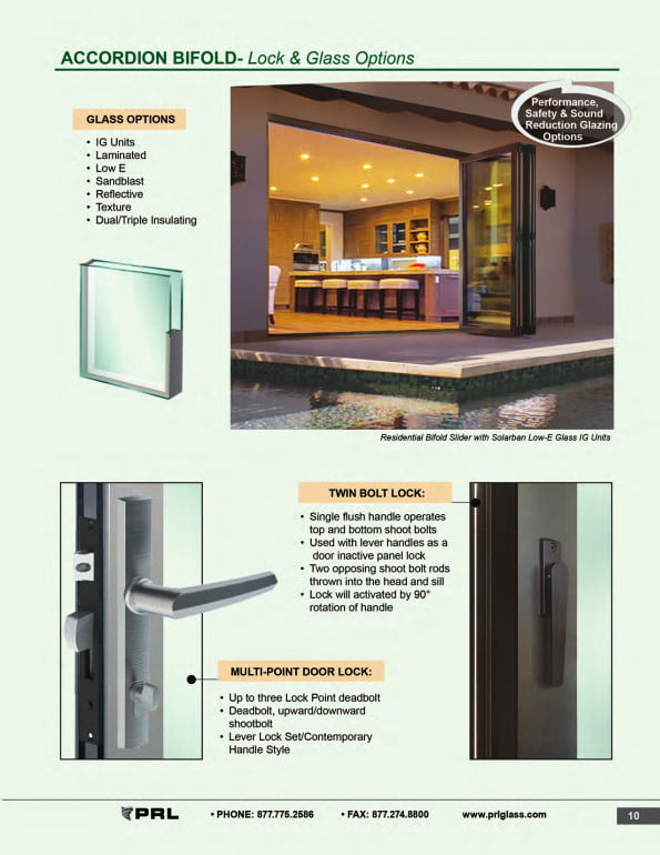 Accordion Bifold Door Lock and Glass Options 2
