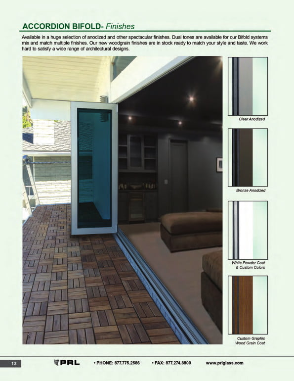 Accordion Bifold Door Finishes