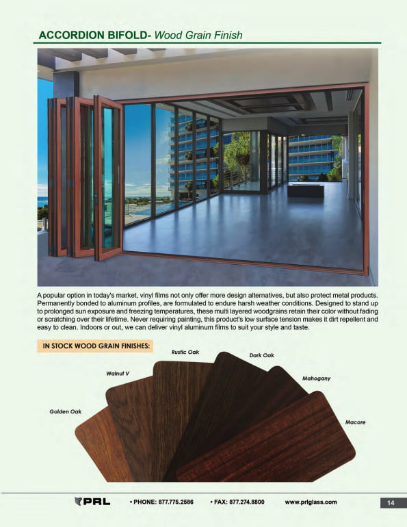 Accordion Bifold Door Wood Grain Finishes
