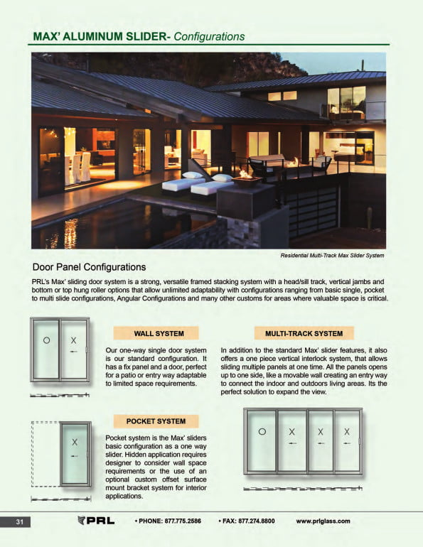 Max Glass and Aluminum Sliding Door Configurations 1