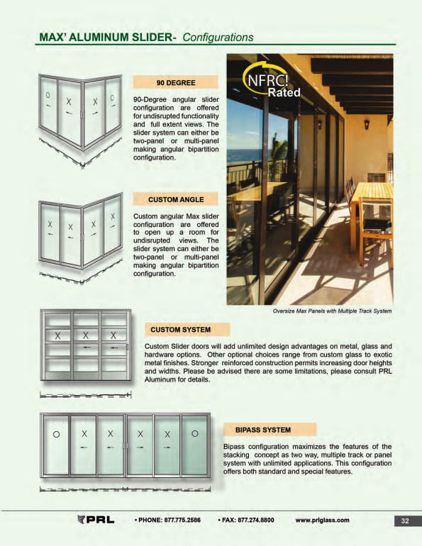 Max Glass and Aluminum Sliding Door Configurations 2