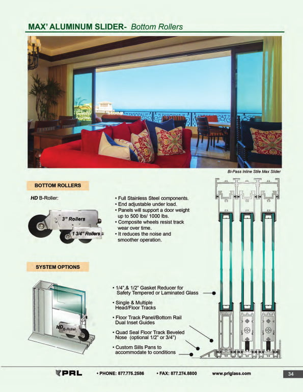 Bottom Rolling Glass and Aluminum Sliding Door