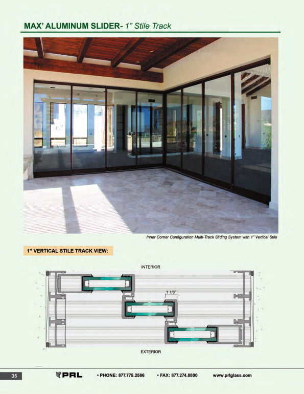 1 Inch Stile Track Glass and Aluminum Sliding Door
