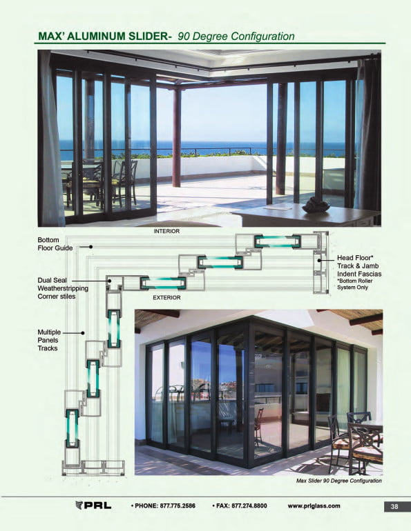 90 Degree Glass and Aluminum Sliding Door Configuration 2