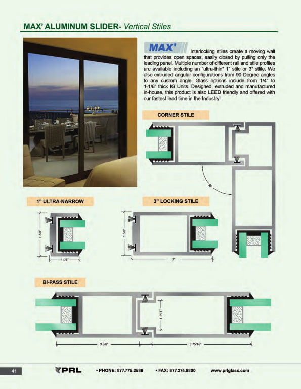 Vertical Stile Glass and Aluminum Sliding Door 1