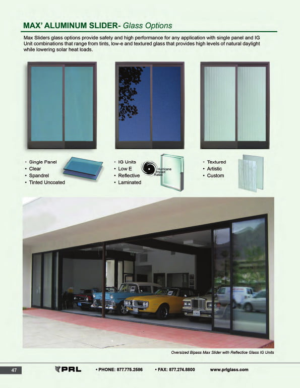 Glass and Aluminum Sliding Door Glass Options 1