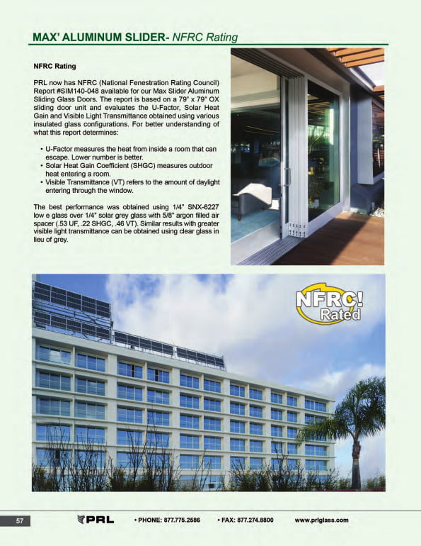 NFRC Rating Glass and Aluminum Sliding Doors 1