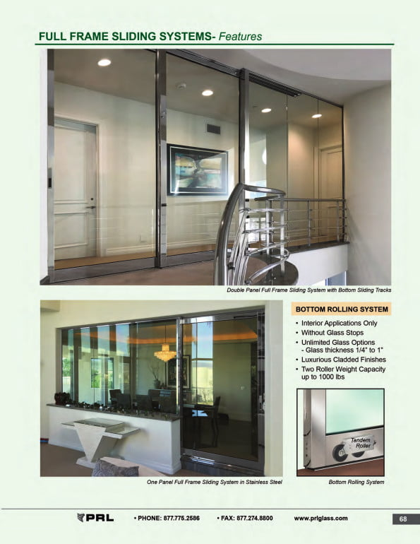 Full Frame Glass and Aluminum Sliding Door Features