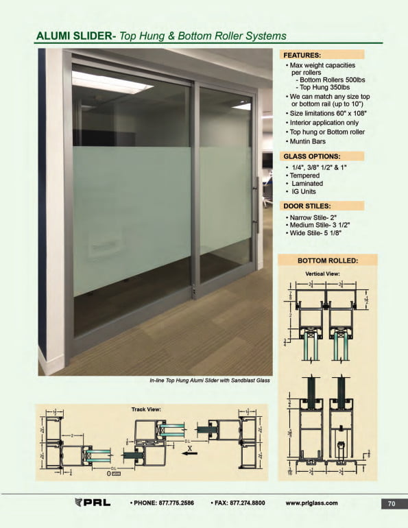 Top Hung and Bottom Rolling Sliding Door Systems