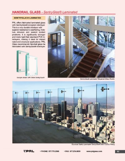 Handrail Glass - SentryGlas® Laminated