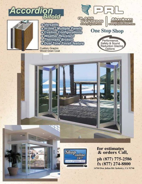 Glass accordion doors.