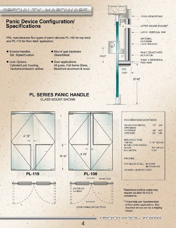 PRL Glass Systems, Inc. Leading All Glass Entrance Panic Device and Hardware Manufacturer