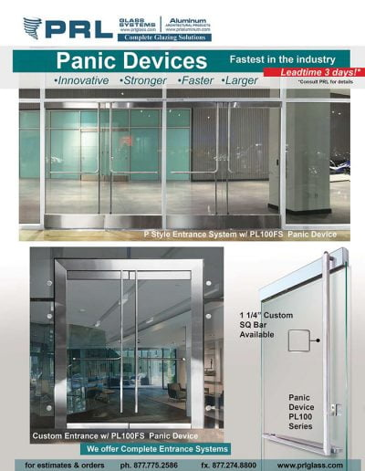 All Glass Panic Device Doors