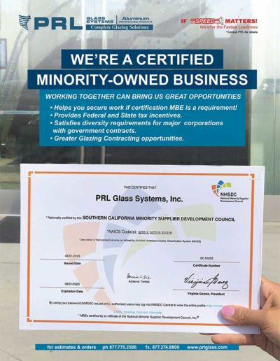 certified minority owned glass and aluminum supplier