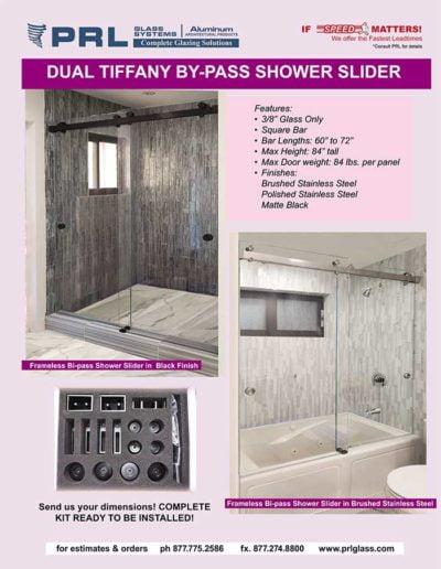dual bypass shower door sliders