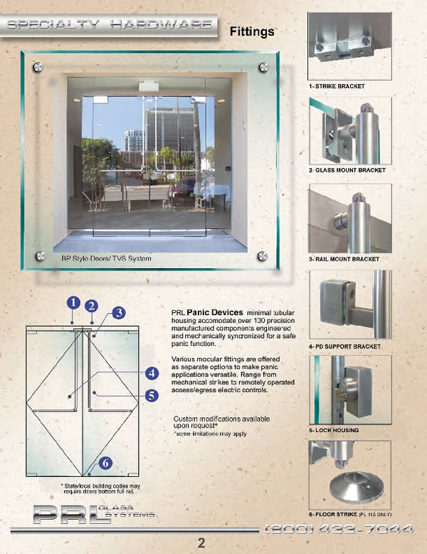 Tubular Panic Hardware for All Glass Doors