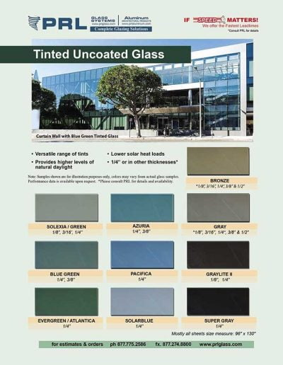 PRL Tinted Uncoated Glass Products