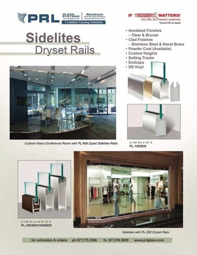 Sidelites Dryset Glass Rails
