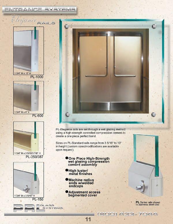 PRL's Elegance Wet-set All Glass Door Rails are designed for heavy tempered glass