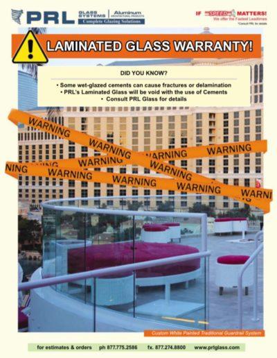 wet glazed cement laminated glass warranty